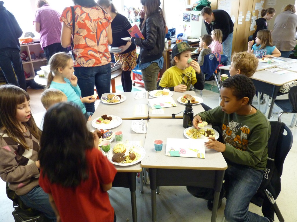 Third grade Selkirk students celebrate their new cookbook
